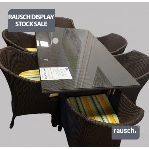 Rausch – Beach Club  165 x 100cm Table with Glass top,  6 Cappuccino Chairs with 6 Sunbrella Cushions