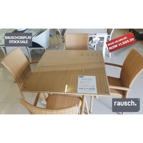 Beach Club - 1 Meter Square Table with Glass top and  4 and Sunny Beach Stacking Chairs