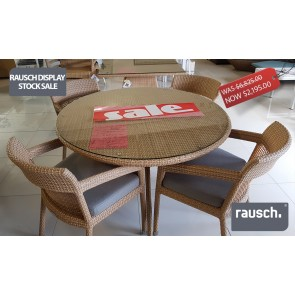 Rausch – FLORIDA BOCA 120 Centimeter Round Table with Glass with 4 x Holmes Beach Chairs  with Cushions